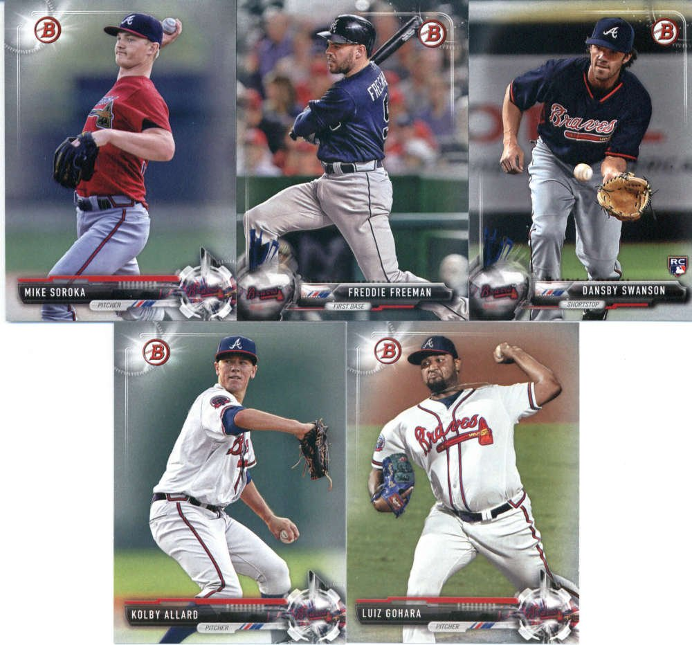 2017 Bowman & Prospects Atlanta Braves Team Set of 10 Cards: Freddie Freeman(#44), Dansby Swanson(#57), Kevin Maitan(#BP100), Ronald Acuna(#BP127), Travis Demeritte(#BP144), Luiz Gohara(#BP17), Kolby Allard(#BP47), Mike Soroka(#BP5), Patrick Weigel(#BP74), Abrahan Gutierrez(#BP78)