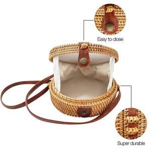 Harvest Round Woven Ata Rattan Bag Linen Inside and Vegan Leather Button (White Batik Linen Inside)