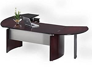 "Mayline Executive Office Desk 107""W X 63""D X 29.5""H Desk 72""W X 36""D Curved Desk Extension 47""W X 28""D Return 63""W X 24""D 1 1/4"" Thick Work Surface W/Distinct Beveled Edges - Mahogany"