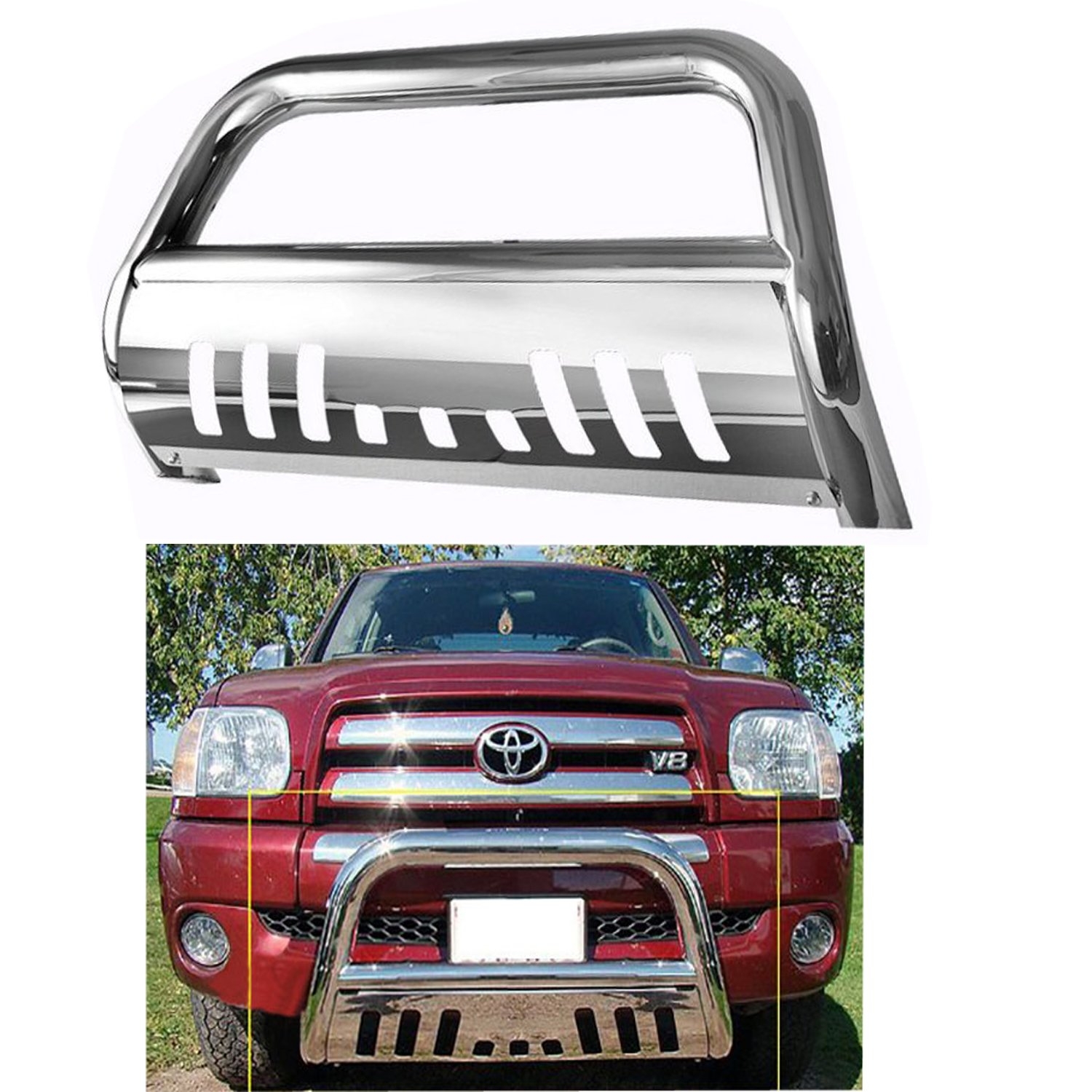 Bull Bar Skid Plate Front Push Bumper Grille Guard Stainless Steel Chrome for 2007-2016 Toyota Tundra 2008-2016 Toyota Sequoia