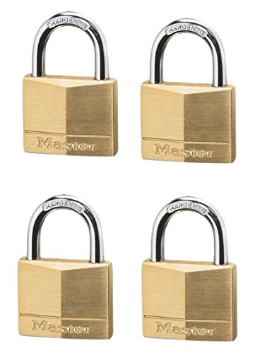 Master Lock 140D Solid Brass Keyed Different Padlock with 1-9/16-Inch Wide Body, 1/4-Inch Shackle, 4-Pack