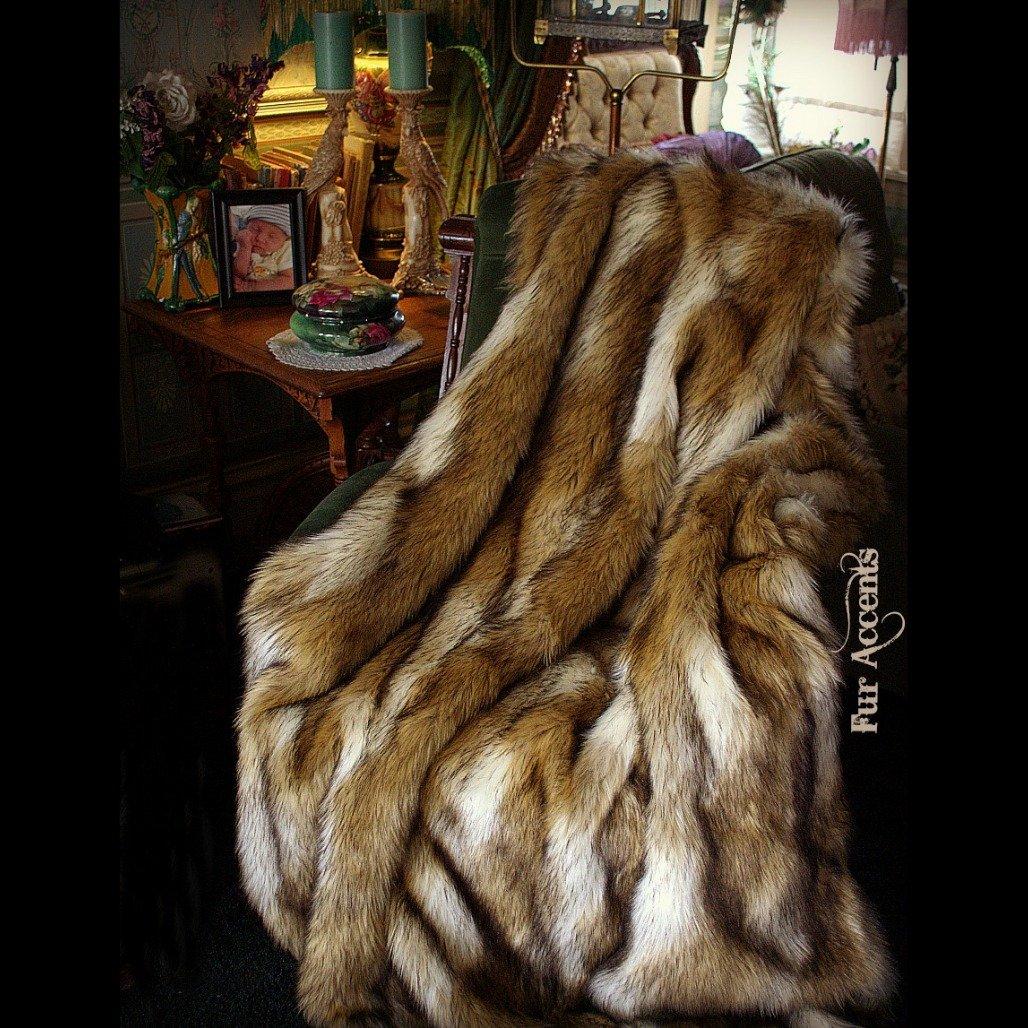 Premium Faux Fur Brown Coyote Stripe Wolf Skin Pelt Rug Art
