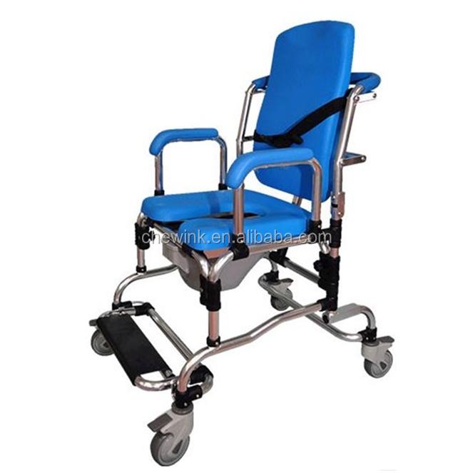 Döner Tekerlekler ile Push Button Drop Yükseltilmiş Kol Tuvalet Sandalye
