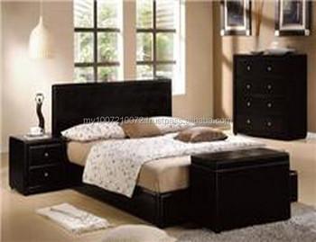 slaapkamer meubels pu bekleding bed night stand borst lade opslag bankje