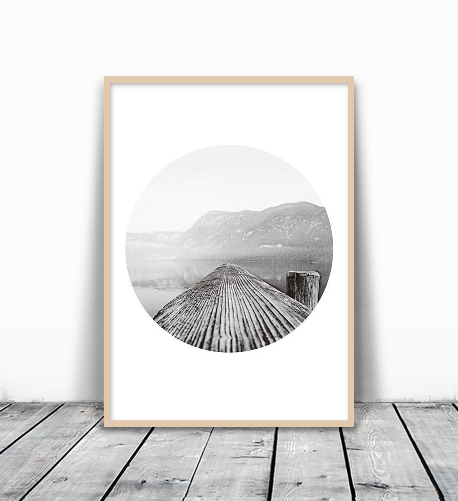 Mountain Photography, Mountain Print, Tree Ring Print, Black and White Sea Print, Mountain And Sea, black and white, Scandinavian Print, Photography Print, Mountain Wall Art, Scandinavian Art, 8x10