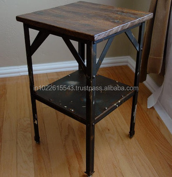 E Vintage Industrial Furniture Side Table  Recycled Wood And Iron