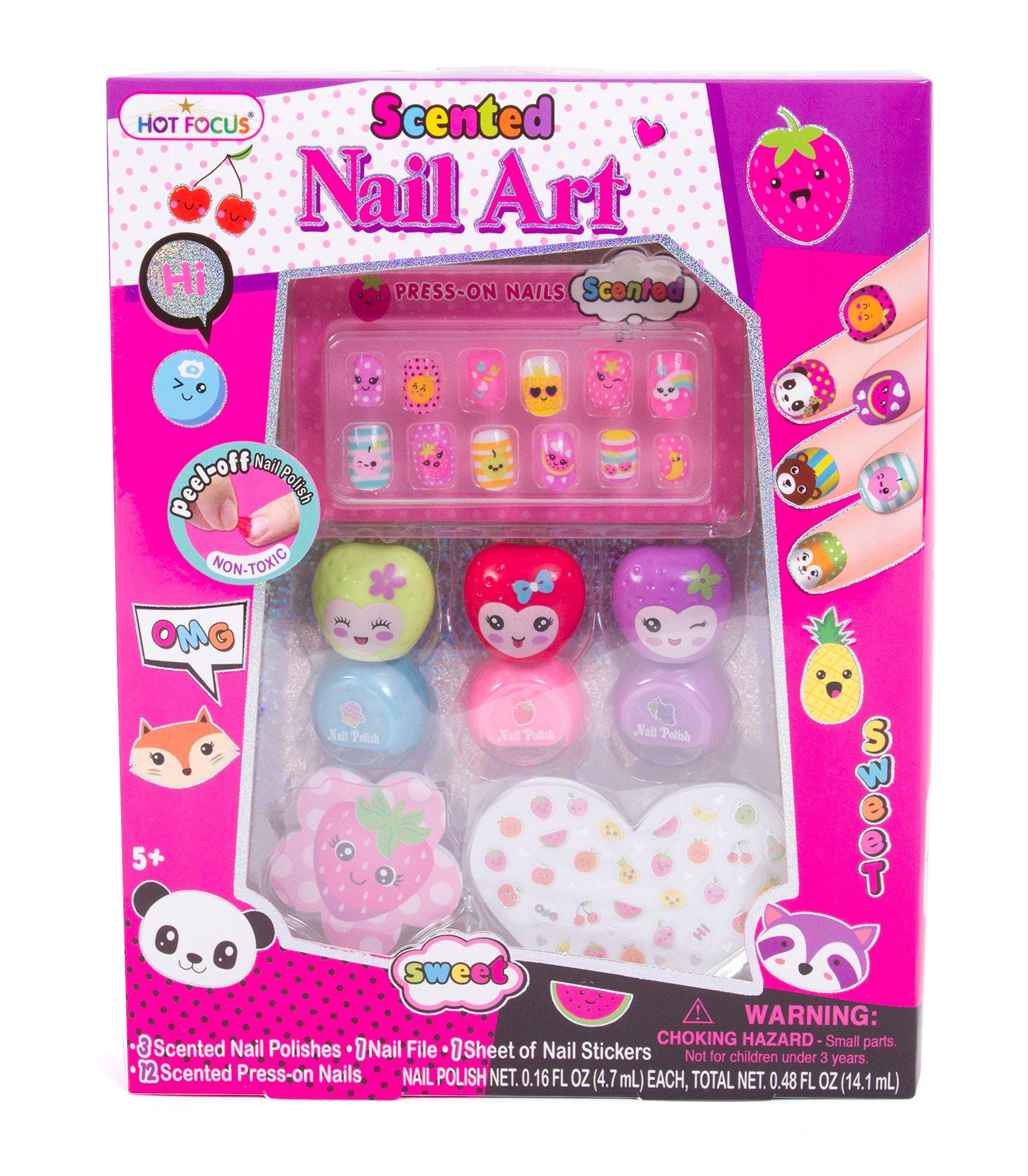 Hot Focus Scented Nail Art Kit - Fruit Girls Nail Kit Includes 12 Press on Nails, 3 Nail Polishes, 31 Nail Stickers and a Nail File – Non-Toxic Water Based Peel Off Nail Polish