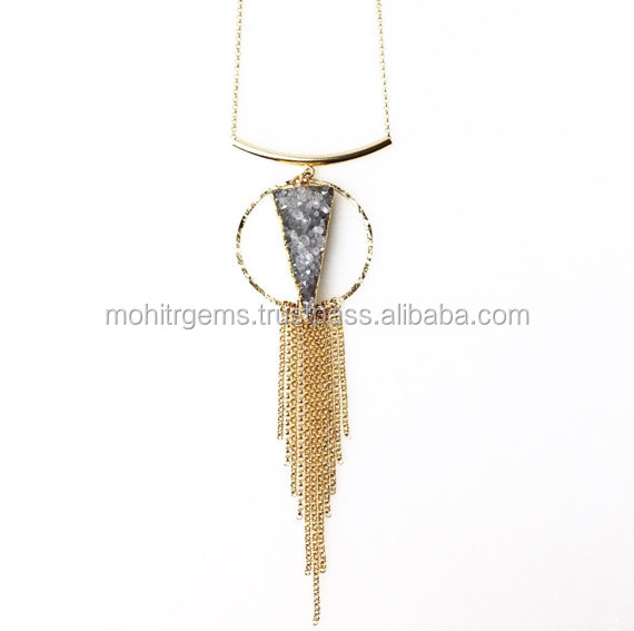 "Long Trillion Shape With Brunch Of Chains Fine Agate Sugar Druzy 21""Long Chain Pendant Necklace"