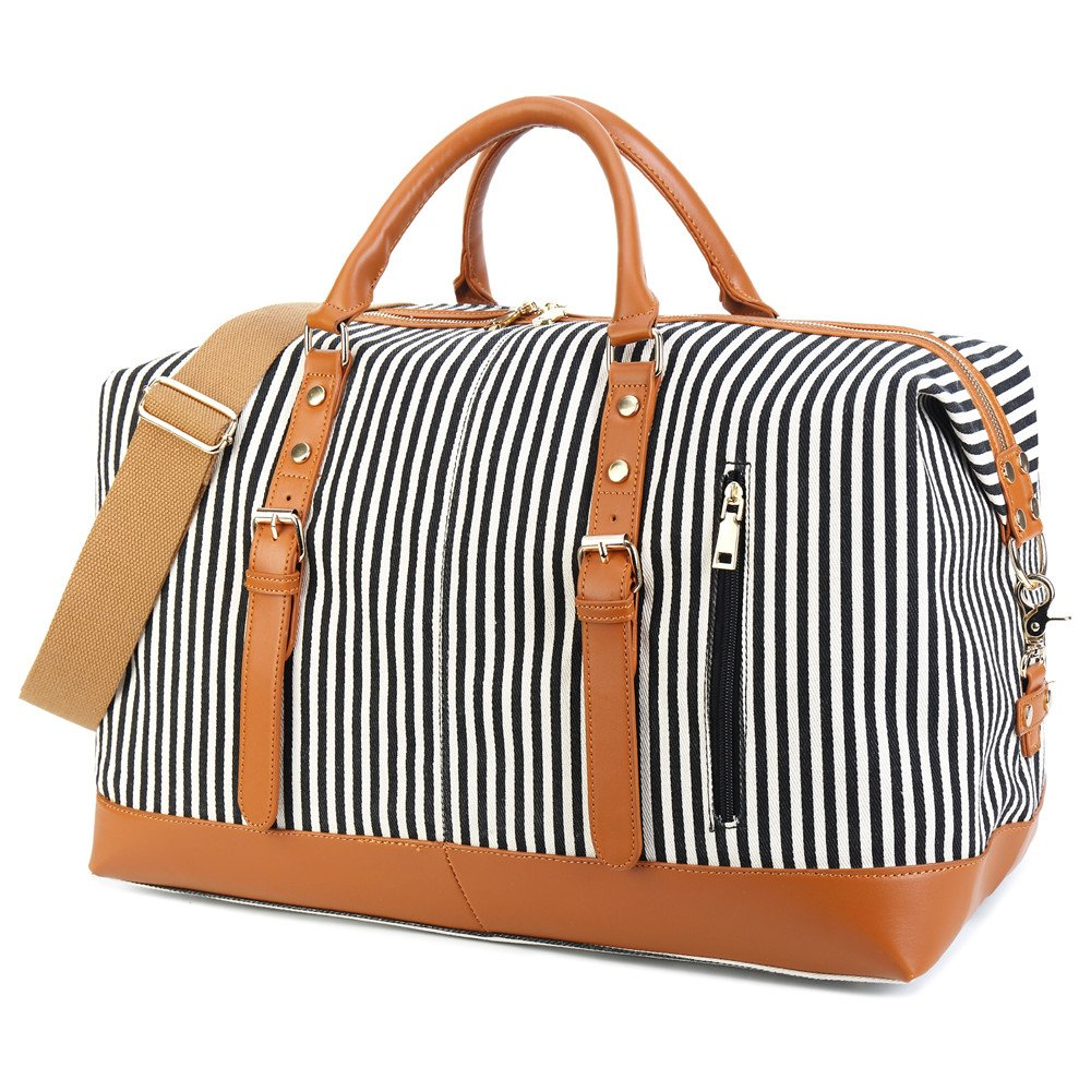 55c24dad7e CAMTOP Weekend Travel Bag Ladies Women Duffle Tote Bags PU Leather Trim  Canvas Overnight Bag