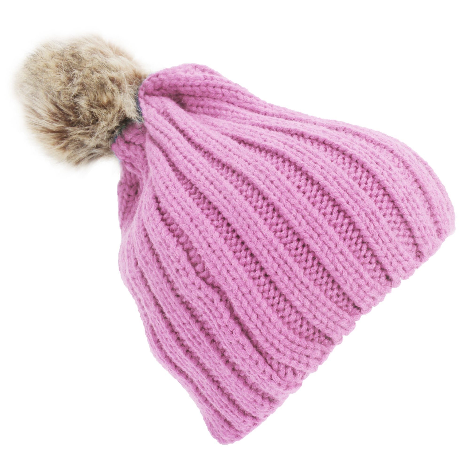 9202ab0d73f Get Quotations · Universal Textiles Childrens Girls Cable Knit Faux Fur Pom  Pom Winter Beanie Hat