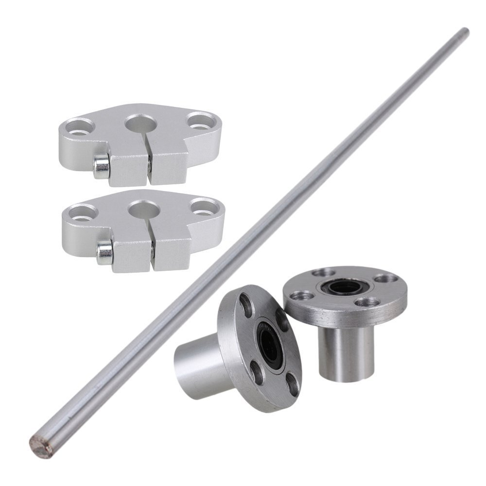 Industrial Combination,Ideaker Vertical 8mm Dia Round Flange Motion Bushing Bearing &400mm Linear Shaft Optical Axis with Rod Rail Support Set of 5