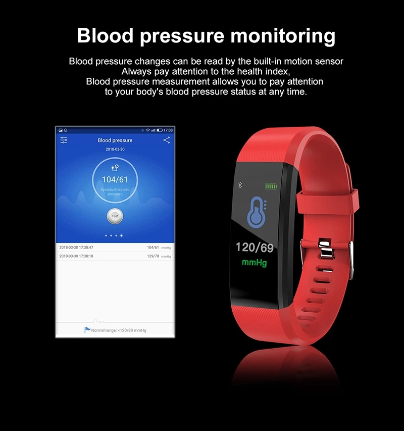 Heart Rate Sport,fitness tracker,  IP67 Waterproof Blood Pressure Smart Color Wristband Fitness Tracker Android and IOSBluetooth