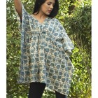 new fashion top quality hand block printed short kaftan v-neckline adjustable waist front two pocket 100 % cotton fabric kaftan