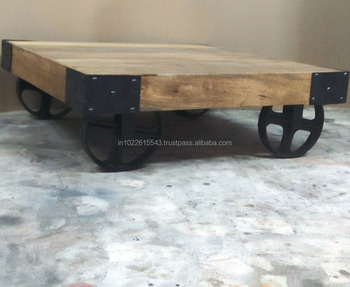 Cart Wheels Coffee Table