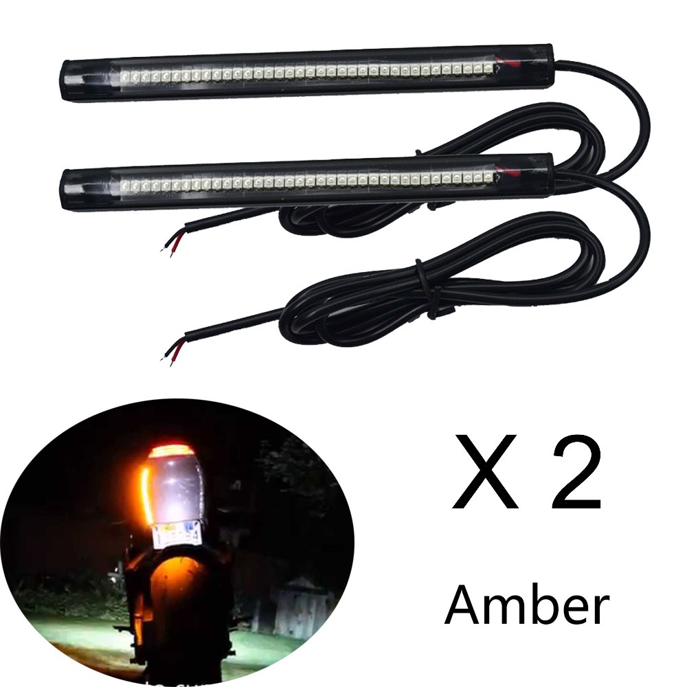 NBWDY 2PCS Universal for Tail Brake Stop Turn Signal 36LED 6'' Flexible led light Strip for motorcycle (Amber)