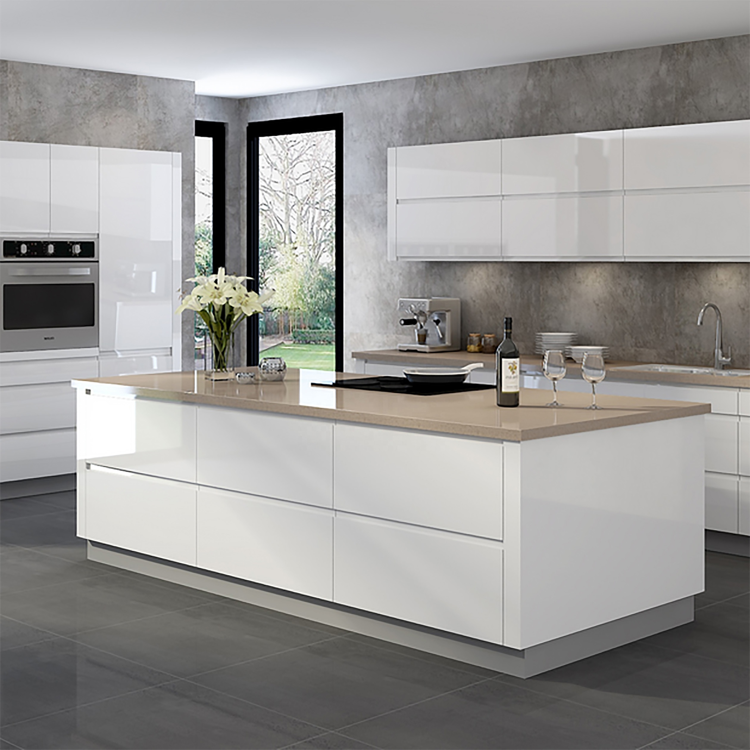 Modern Style Modular Luxury White Lacquer Kitchens Designs Buy