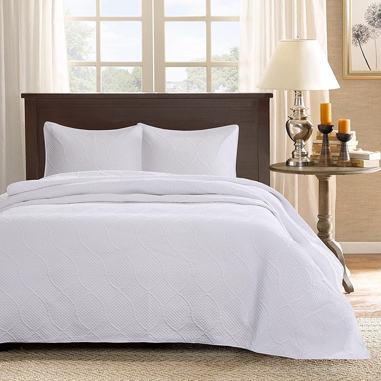 120 x 118 Oversized Blue Brown King Bedspread Floor Set Extra Long Jacquard