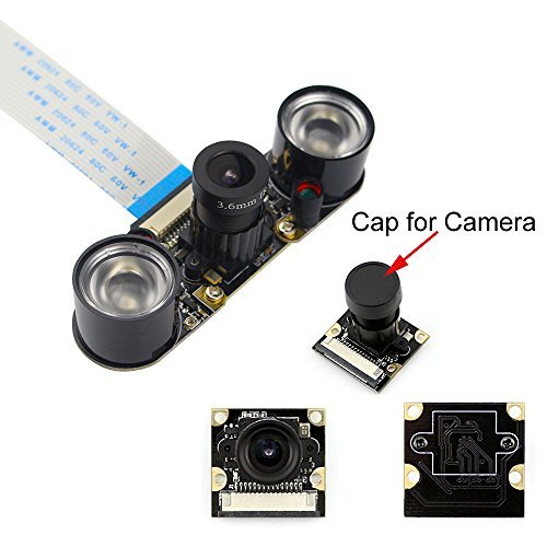 kuman Raspberry PI Camera Module 5MP 1080p OV5647 Sensor HD Video Webcam Supports Night Vision SC15 (Raspberry PI Camera Module)