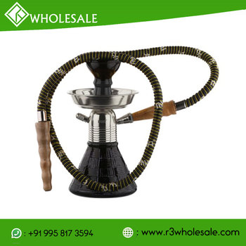 R3 9 Inch Tall Glass Hookah with Metal Plate/AshCatcher and Ceramic Bowl