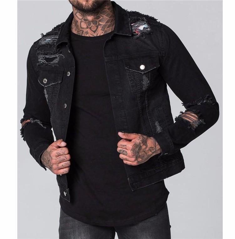 Royal Wolf Denim Jacket Manufacturer Black Acid Wash Ripped Denim