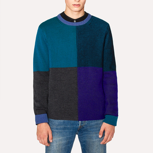 Fashion Blue Color Merino Wool Mens Vertical Stripe Sweater