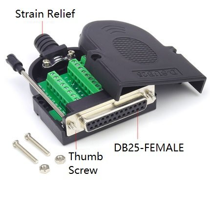 EZSync Female D-Sub DB25 Terminal Block Adapter Kit,Solderless Breakout, 2X Pack, DB25 Female, Thumb Screw, EZSync907