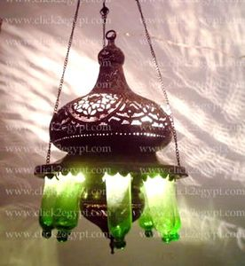 BR211 Antique Style Islamic Hanging Light Fixture Green Chandelier