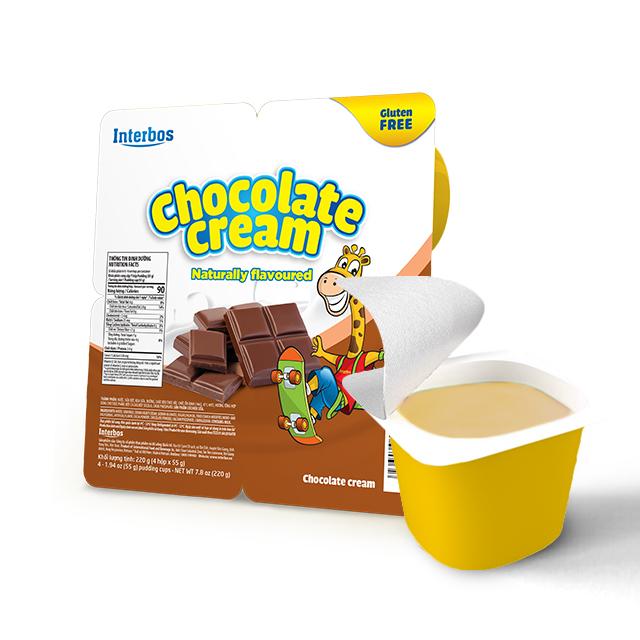 Premium quality deliciuos Cream dessert chocolate flavor, dairy product 55 gram per cup