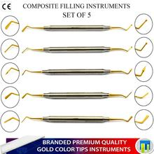 Dental Composite Kunststoff Füllung Instrumente Spachtel <span class=keywords><strong>Scaler</strong></span> Gold Beschichtet