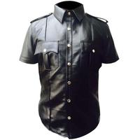 Genuine Sheep Leather Men's Hot Gay Police Short Sleeve Leather Shirt