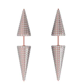 14k Rose Gold Pave Diamond Stud Spike Earrings