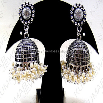 e03754873 Big Girlish Wear Antique German Silver Oxidized Daily College Fashion Design  Jhumka Hanging Earrings