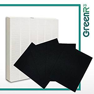 GreenR3 1-PACK Air Purifier True HEPA Air Filter + 4 Replacement Carbon Filters for Fellowes HF-300 fits Fellowes AP300PH HF300 AeraMax 290300 DX95 Model Series Accessories Parts Number PN and more