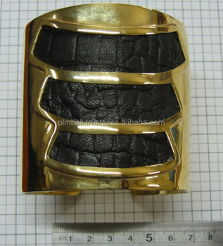 BRB1006- chungky brass cuff bracelet with leather