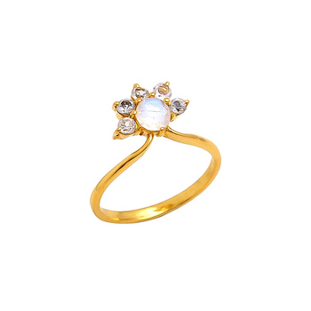 White Topaz & Rainbow Moonstone Engagement Ring 925 Silver