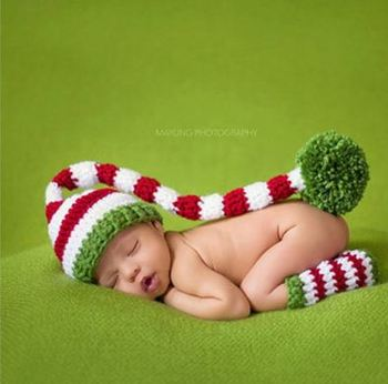 Baby Long Tail Christmas Hat hand-woven Sets