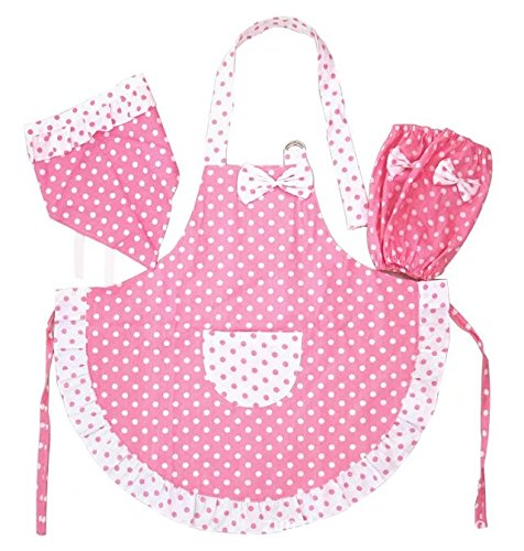 Novo Kitchen Cotton Kids Girl Apron set with Hat,Oversleeves ,for 1-3 Years Child apron ,Pink Color,Half-Waterproof,Antifouling for Cooking,Baking,Painting,Coffee Shop