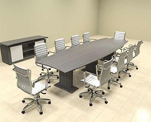 Modern Contemporary Boat Shaped 12' Feet Conference Table, #MT-STE-C10