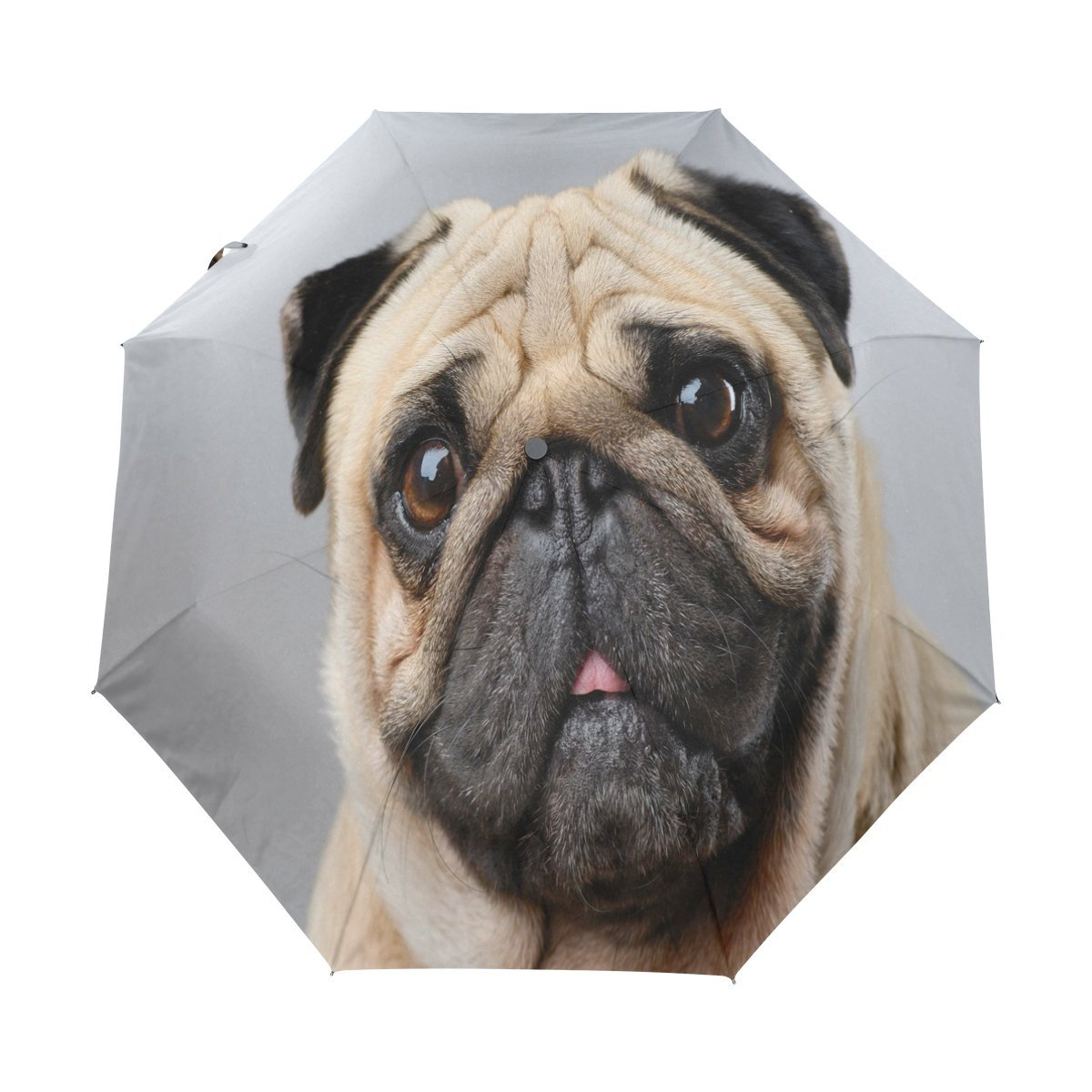 WOZO Puppy Pug Dog 3 Folds Auto Open Close Umbrella