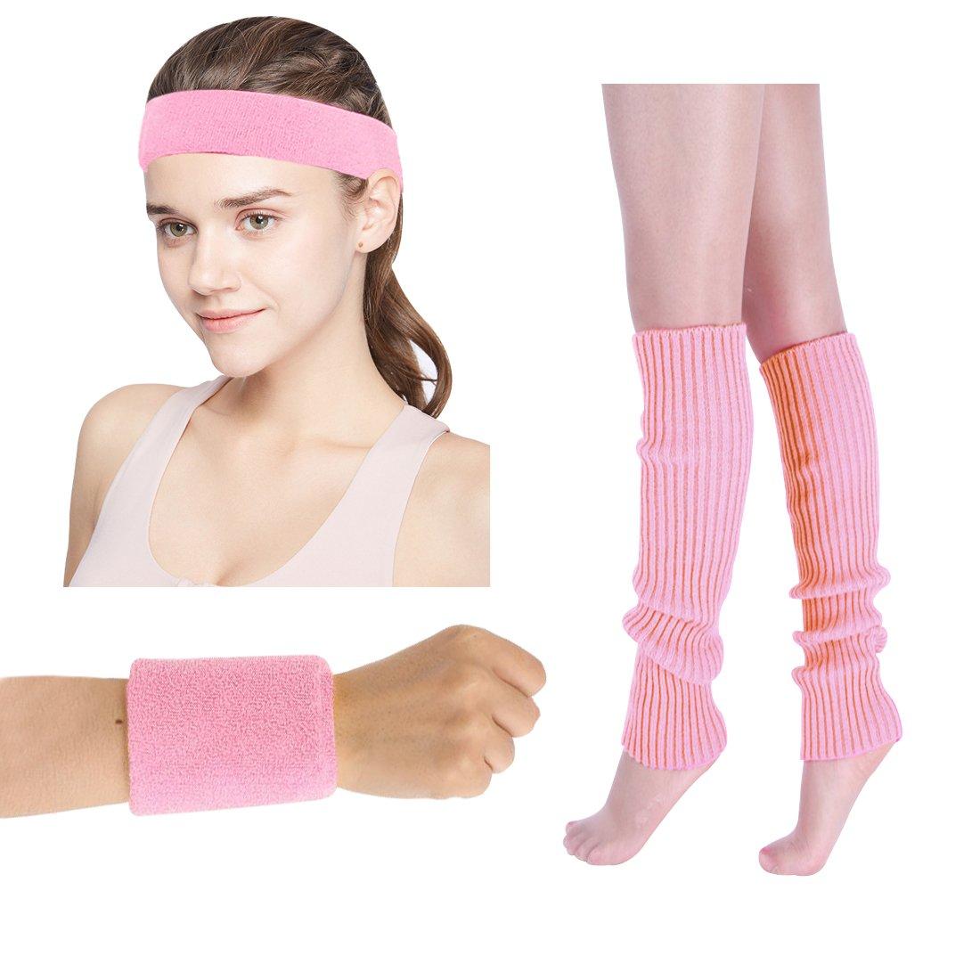 New Ladies Girls Neon Gym Sweatband HEADBAND WRISTBANDS 80/'s Fancy Dress Party