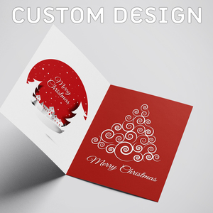 High Quality Custom Design - Eco Print Merry Christmas Wish Card - Full Color Printing - Paper Size A5 / 300 gsm Majestic