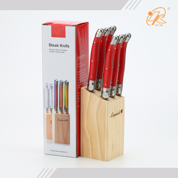 Stainless steel serrated edge 6 pcs laguiole steak knife set with wood block