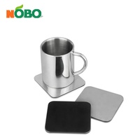 Customized Set of 4 Tabletop Square Drinking Metal Coaster Holder Set Stainless Steel Non-slip Cup Coaster with Holder