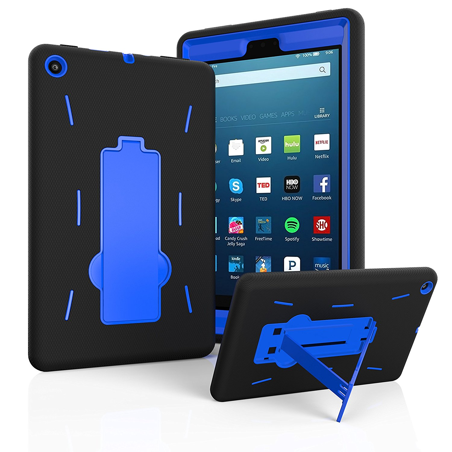 """Fire HD 8 Case 2017, EpicGadget(TM) 2017 7th Generation Amazon Fire HD 8"""" Heavy Duty Hybrid Case Full Body Cover with Kickstand For Fire HD 8"""" Display + 1 Fire 8 HD Screen Protector (Black/Blue)"""