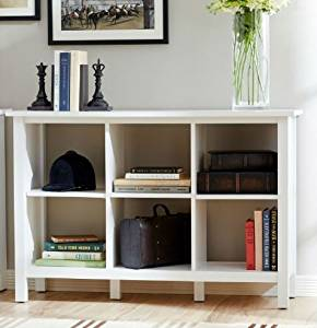 "K&A Company Cube 6 Storage Bookcase Shelf Shelves Black Unit Room Cabinet Wooden Bookshelf 30"" H x 45.04"" W x 15.35"" D in White"