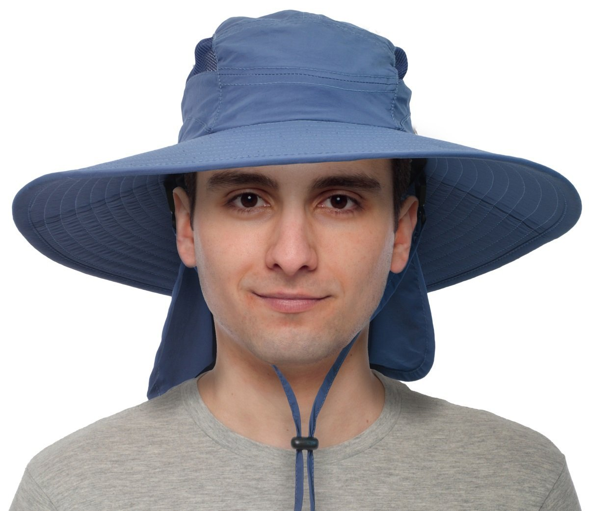 ac389d3b5111c Get Quotations · Solaris Fishing Cap UV Sun Protection Wide Brim Hat with  Removable Bill Neck Flap for Men