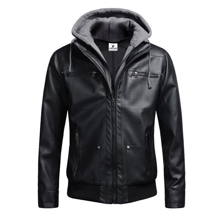 Detachable hooded biker genuine leather jacket for men