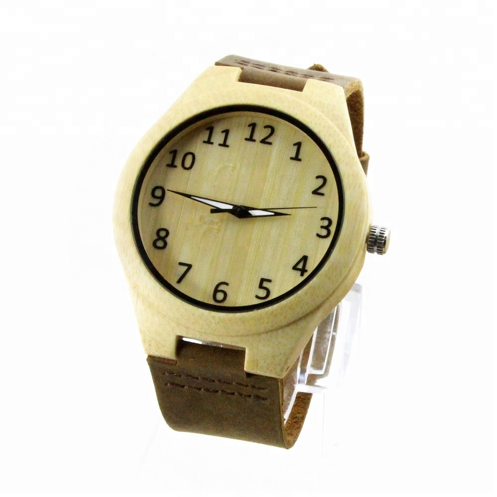 2018 Natural Bamboo Wooden Arabic Numerals Watches Brand Your Own Watches, Yellow