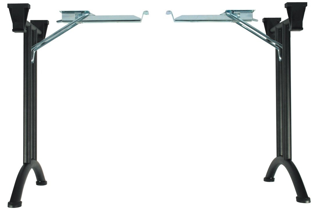"""Folding Table Legs, with Curved Foot by Hafele, Steel, W 23 1/4 x H 27 1/8"""" (Black)"""