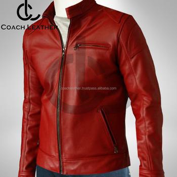 New 2018 Design Men S Red Biker Leather Jacket Buy Latest Style